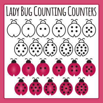 Ladybug Math Counting Counters Clip Art Set for Commercial Use