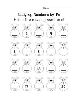 FREEBIE! Ladybug Math: Fill in the Missing Numbers {skip counting}