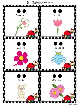Ladybug Multi-Syllabic Words Spring Vocabulary