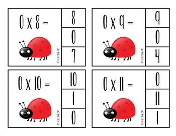 Ladybug Multiplication Flashcards--Facts 0-12