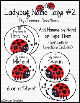 Ladybug Name Tags #2