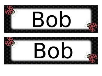 Ladybug Name Tags Desk Plates - Editable