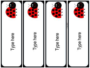 Editable Ladybug Name Tags & Labels