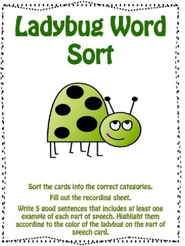 Ladybug Part of Speech Word Sort