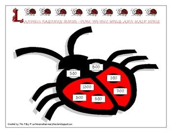 Ladybug Partner Bingo - Time to the Hour and Half Hour