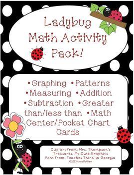 Ladybug Patterns Graphing Measuring Math Activity Set Pack