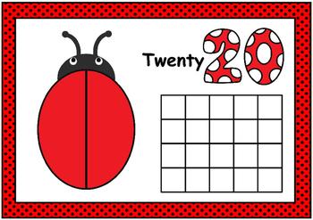 Ladybug Playdough Mat- Numbers (0-20) with Ten Frames