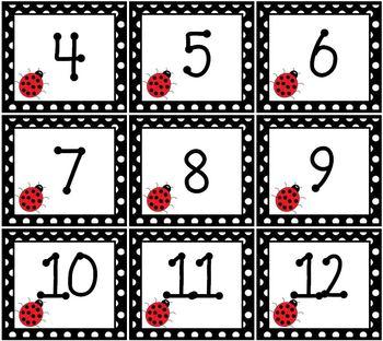 Ladybug Pocket Chart or Wall Calendar Set