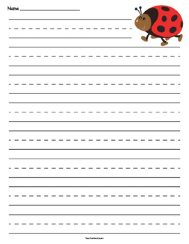 Ladybug Primary Lined Paper
