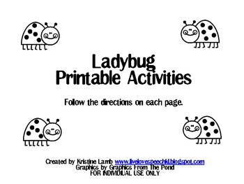 Ladybug Printable Speech and Language Activities {FREEBIE}