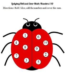 Ladybug Roll and Cover Math File Folder Game