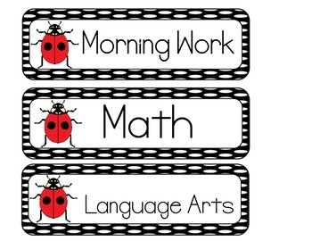 Ladybug Schedule Cards