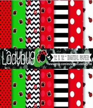 Ladybug Scrapbooking Paper, Baby Girl's Clipart Set, ladybug vector graphics