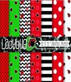 Ladybug Scrapbooking Paper, Baby Girl's Clipart Set, ladyb