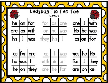 Ladybug Sight Word Tic-Tac-Toe