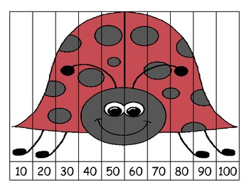 Ladybug Skip Count by 10s Puzzles