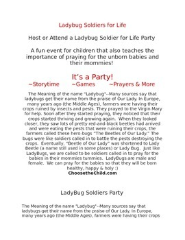 Ladybug Soldiers for Life - A Pro-Life Plan