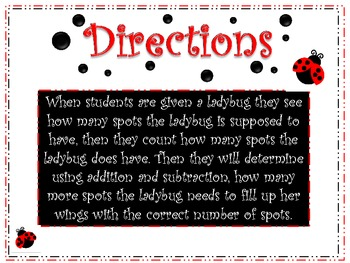 Ladybug Spots: 1-Digit Subtraction and Addition