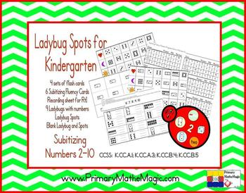 Ladybug Spots Kindergarten Subitizing Numbers 2 through 10