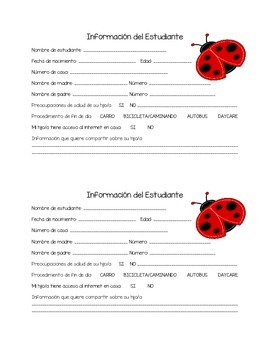 Ladybug Student Information Sheet (SPANISH)
