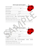 Ladybug Student Information Sheet (SPANISH)