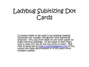 Ladybug Subitizing Dot Cards