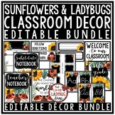 Ladybug & Sunflower Classroom Decor: Newsletter Template Editable, Name Tags