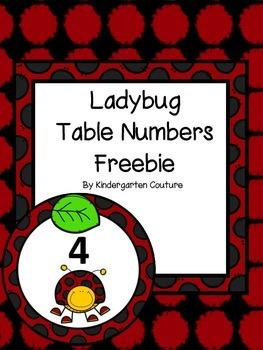 Ladybug Table Numbers -Freebie