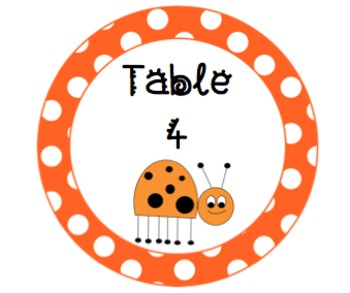 Ladybug Table Signs for Classroom Decorating