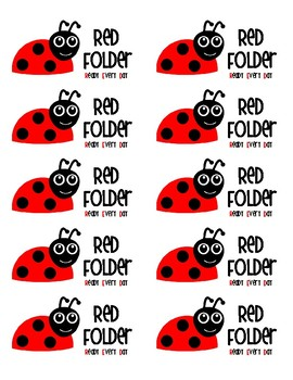 Ladybug Take Home Folder Labels (RED Folder)
