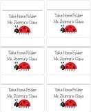 Ladybug Take Home Folder Labels
