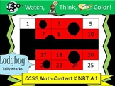 Ladybug Tally Marks - Beginning Watch, Think, Color! CCSS.K.NBT.A.1