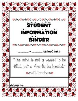 Ladybug Teacher Binder Cover