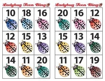 Ladybug Teen Number bingo