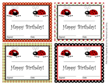 Ladybug Theme Birthday Certificates