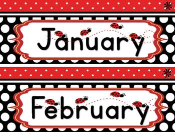 Ladybug Theme Classroom Calendar
