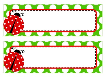 Ladybug Theme Name Tags And Labels By Elizabeth Madrid Tpt