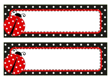 Ladybug  Theme Name Tags and  Labels