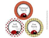 Ladybug Theme Pencil Caddy Labels