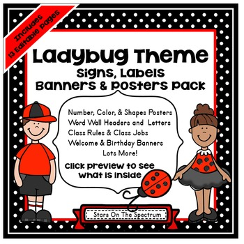 Ladybug Theme * Posters, Signs, Labels and Banners *