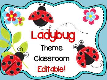 Ladybug Theme Signs, Binder Covers, Labels and Nameplates