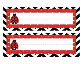 Ladybug Theme Student Name Plates