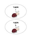 Ladybug Theme Table Numbers 1-6