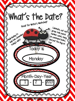 """Ladybug Theme """"What's the Date"""" Wall Display for Writer's"""