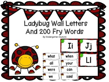Ladybug Theme Word Wall Letters and 200 Fry Words