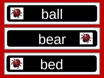 Ladybug Theme Word Wall of the Dolch 95 Common Nouns