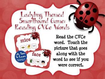 Ladybug Themed CVCe Words Game for Smartboard or Promethean Board!