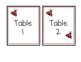Ladybug Themed Classroom Table Numbers and Poster