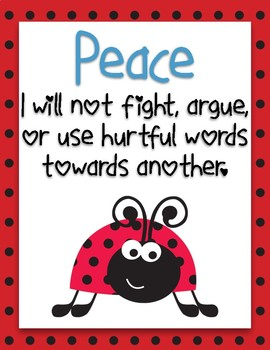 Ladybug Themed Fruit of the Spirit Classroom Rules Posters *FREEBIE!*