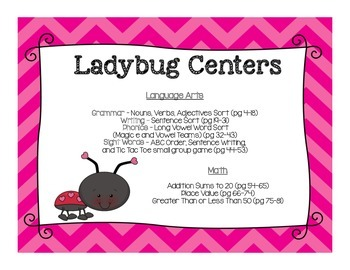 Ladybug Themed Literacy & Math Centers BUNDLED